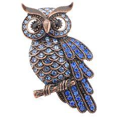 Vintage Sapphire Blue Owl Pin Brooch