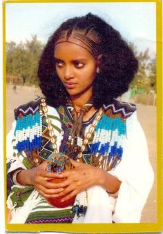 Traditional hairstyle of Eritrean woman