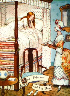 "Illustration: From the story ""The Real Princess"" Princess and the Pea. Hans Andersen's Fairy Tales by William Woodburn, Illustrated by Gordon Robinson - elephant advice"