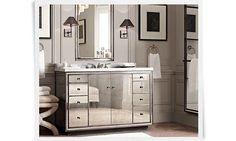 restoration+hardware+rooms | Strand Mirrored Single Extra-Wide Vanity Sink Italian Carrara Marble