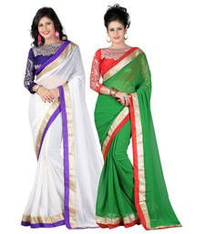 Buy White and Green embroidered chiffon saree with blouse sarees-combo-sari online