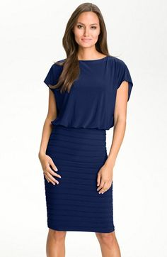Adrianna Papell Blouson Shutter Pleat Jersey Dress available at #Nordstrom