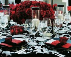 Black, red and white table setting