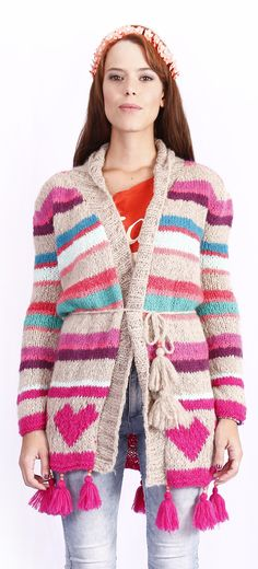 tapado corazones - Comprar en de las bolivianas — de las bolivianas Crochet Jacket, Crochet Cardigan, Knit Crochet, Hippie Chic, Crochet Clothes, Costumes, Knitting, Sweaters, Style