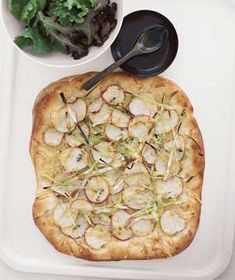 Potato and Leek Flat Bread With Greens Recipe from realsimple.com. #myplate #veggies