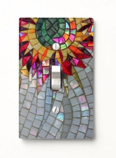 Floral Mosaic Light Switch Cover - JUSTART on Zazzle  #justart #zazzle #floral mosaic #mosaic #starflower #home #decor #room #shiny #mother of pearl #red #yellow #pink #purple #green
