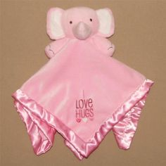 Stepping Stones Pink Elephant Security Blanket Lovey I Love Hugs Velour Satin #SteppingStones