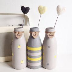 Set of three hand painted mini milk bottles with felt hearts