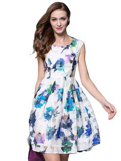 Shop Fresh Floral Print Sleeveless A-Line Tank Dress online at Jollychic,FREE SHIPPING!