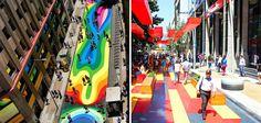 20 artistes ont transformé une rue de Santiago en œuvre colorée