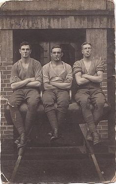 vintage photo three men sitting posing with cigarettes