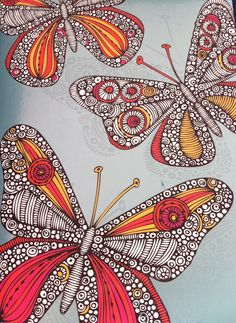 zentangle butterfly painting from Valentina Ramos diary 2013 illustration ... luv the hot colors with the black and white ..