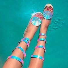 "#mermaid #shoes 3,109 Likes, 20 Comments - Dolls Kill (@dollskill) on Instagram: ""these sandals R a mermaid's dream  dollskill.com/seadream"""