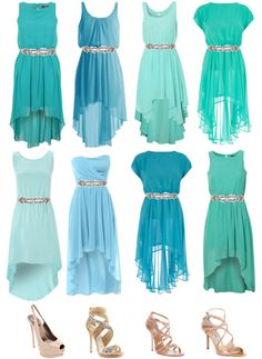 Perhaps one of these turquoise bridesmaid dresses for my sisters! They will have coral pink and peach flowers. Cute right?