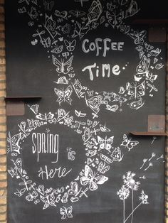 Chalkboard, spring & coffee