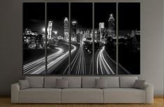 Atlanta Skyline at night, high contrast black and white with light trails №2947