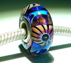 RAKU STARS Fully Lined Sterling Silver Big Hole Bead fits Troll Trollbeads Chamilia European Charm Bracelets Handmade Lampwork