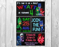 PJ MASKS Birthday Party Invitation Invite Invitations