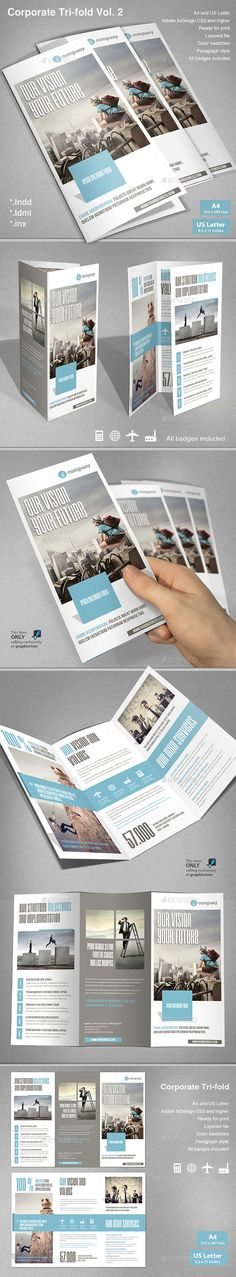 #Corporate Tri-fold - Corporate #Brochures Download here: https://graphicriver.net/item/corporate-trifold/19625436?ref=alena994