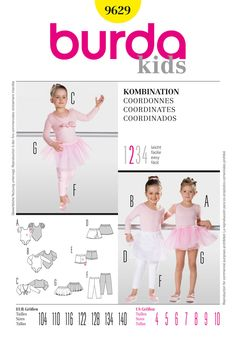 Burda Style Kids B9629, Coordinates - Ballet outfit for small dancers! The leotard looks great with the short tied jacket, a wrap-around ballet skirt or the tutu. Underneath tight-fitting shorts or leggings.