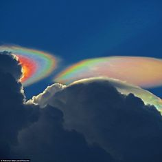 Looking up into the night sky, stunned photographer Ken Rotberg realised he had seen something special when he captured these amazing pictures of a rare weather phenomenon known as a 'fire rainbow cloud', which appeared near Delray Beach, Florida. All Nature, Science And Nature, Amazing Nature, Nature Beach, Fire Rainbow, Rainbow Cloud, Beautiful Sky, Beautiful World, Cool Pictures