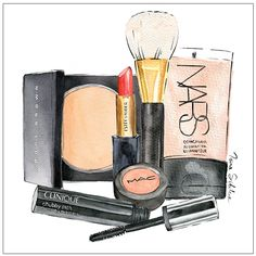 Client illustration: makeup products by Irina Sibileva More