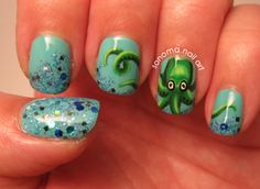 Octopus nails with a bit of my Sonoma Nail Art indie polish, called 20,000 Leagues Under the Sea!