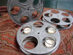 Industrial Film Reel // Wedding Centerpiece // by thevintagethread