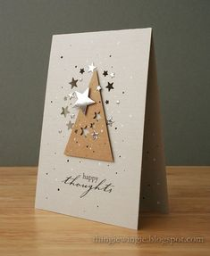 What a simple sparkly card! A tree shape cut from kraft paper, with some small stars punched out of it, really pops on this white card. Silver and gold stickers or punches add the holiday spirit to this handmade Christmas card. Diy Christmas Cards, Homemade Christmas, Holiday Cards, Simple Christmas, Christmas Stickers, Christmas Greetings, Winter Karten, Winter Cards, Card Tags