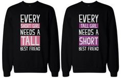 The designs are simple, cute, and totally suitable for any BFF! Matching Sweatshirts for Best Friends. - Order includes TWO sweatshirts for friend 1 & friend - Unique matching sweatshirts for best friends. Best Friend T Shirts, Bff Shirts, Best Friend Outfits, Best Friend Goals, Cute Shirts, Funny Shirts, Best Friends, Bff Sweatshirts, Friends Shirts