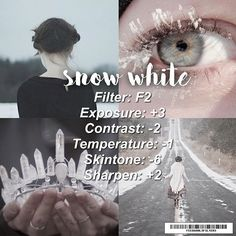 . ♡ perfect for: pristine and minimal photos ♡ avoid: too saturated images ♡ take: mostly white pics ♡ note: use aviary or facetune for whitening some parts ♡ qotp: fav disney princess mine are snow white and cinderella