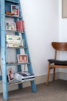 Found an old wooden ladder like this in my basement - thinking I could do something like this with it!