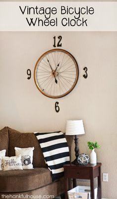 The Hankful House: Vintage Bicycle Wheel Clock