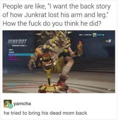 And Roadhog is just him putting his brother's soul in a new body, thus Junkenstein!
