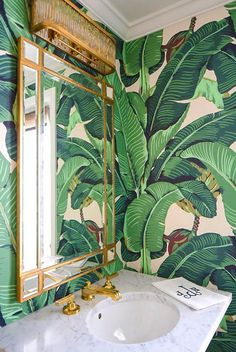 Cheap Ideas, How to Save Money and Add Modern Flair to Home Interiors Modern bathroom decorating, green wallpaper design, wall mirror, golden frame - Add Modern To Your Life Modern Interior Design, Home Design, Design Ideas, Modern Interiors, Contemporary Interior, Industrial Interiors, Hotel Interiors, Bath Design, Cheap Home Decor