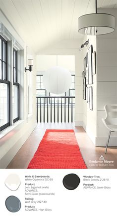"""A corridor redefines """"red carpet treatment"""" with Black Beauty on window trim and railing."""