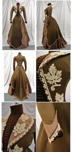 Equestrian Style Trained Bustle Dress. 1870s-1880s