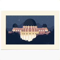 Griffith Park Observatory at Night print by Chris Turnham Illustration.