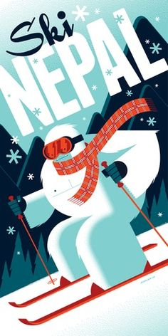 Illustration skiing Yeti by Tom Whalen Tom Whalen, Vintage Ski Posters, Retro Poster, Yeti Images, Omg Posters, Movie Posters, Myths & Monsters, Kunst Poster, Design Graphique