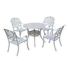 Outsunny 5 Piece Cast Aluminum Outdoor Antique Patio Bistro Dining Set - White