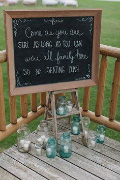 Sweet saying on chalkboard at vintage-inspired wedding -