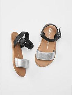 Metallic colorblock sandals // Gap