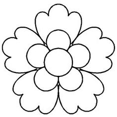 flower coloring - Quilt Stencil 3'' (7.6 cm) Five Petaled Flower