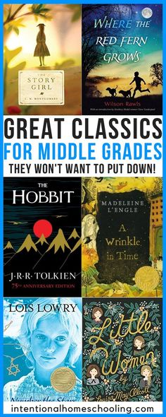 Classic Novels for Middle School - Intentional HomeschoolingYou can find Middle school reading and more on our website.Classic Novels for Middle School - Intentional Homeschooling Middle School Literature, Middle School Outfits, Middle School Grades, Middle School Reading, Middle Schoolers, Kids Reading, 7th Grade Reading List, Middle School Book List, Reading Loft