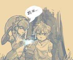 Link and Mipha! Link and Mipha! I like Mipha's design a lot! Legend Of Zelda Memes, Legend Of Zelda Breath, Mipha And Link, Zelda Video Games, Evil Demons, Demon King, Link Zelda, Wind Waker, Twilight Princess
