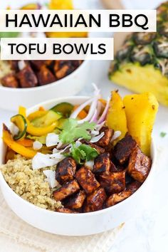 Vegan Hawaiian BBQ Tofu Bowls packed with flavor and crispy tofu! [Guest post by Emilie Eats] dinner bbq Hawaiian BBQ Tofu Bowls Vegetarian Barbecue, Vegetarian Recipes, Healthy Recipes, Vegetarian Bowl, Healthy Grilling, Vegetarian Cooking, Vegan Keto, Vegan Raw, Vegan Foods