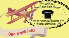 The Traveling T-shirt Contest ends on September 14, 2015! Don't forget to send us your photos! Details here: http://www.palmbeachunitedway.org/travelingtshirts