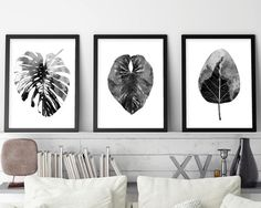 Instant Downloads, Downloadable, Set of 3 Prints, Monstera, Minimalist, Scandinavian, Black White, Botanical, Leaves, Art, Poster, Prints by UrbanEpiphanyPrints on Etsy https://www.etsy.com/au/listing/472218892/instant-downloads-downloadable-set-of-3