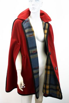 Red and Plaid Wool Cape Jacket by Penguin Fashions of by ELOFSON, $68.00