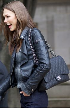 dream bag - Chanel, quilted, large, flap, black with silver hardware